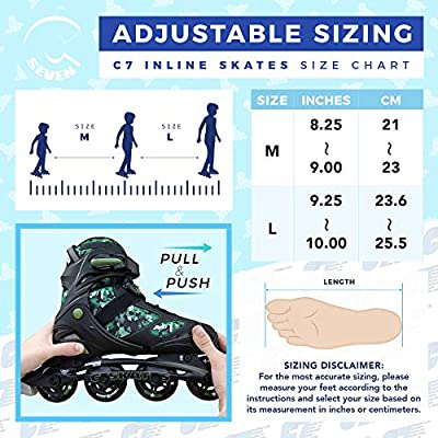 C SEVEN C7skates Adjustable Inline Skates for Youths and Adults : Sports & Outdoors