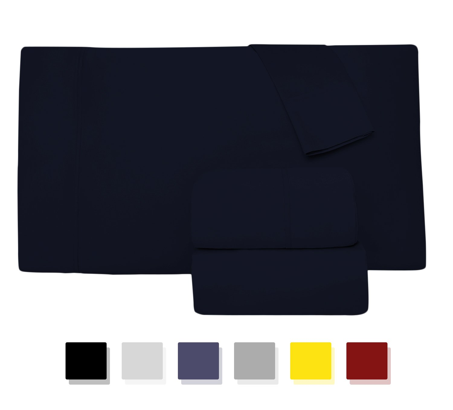 Comfy Sheets Luxury 100% Egyptian Cotton - Genuine 1000 Thread Count 4 Piece Sheet Set-Fits Mattress Up to 18'' Deep Pocket (King, Navy Blue)