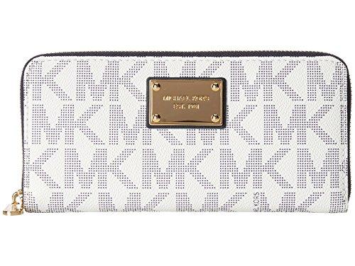 MICHAEL Michael Kors Mk Logo Zip Around Continental, White/Navy, one size