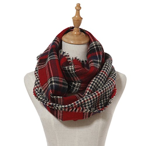 (Lucky Leaf Women Thick Lattice Winter Infinity Circle Scarf Plaid & Tartan Scarves Dual Patterns(Red Black Plaid))