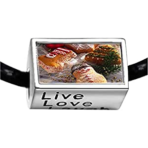 Chicforest Silver Plated Christmas tree sock snowman Photo Live Love Laugh Charm Beads Fits Pandora Bracelets
