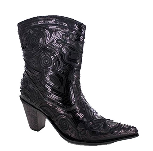 Helens Heart Women's Sparkle Sequin Bling Short Western Cowgirl Boots Black Size 6 -