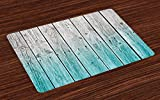 country kitchen table ideas Ambesonne Rustic Place Mats Set of 4, Wood Panels Background with Digital Tones Effect Country House Art Image, Washable Fabric Placemats for Dining Room Kitchen Table Decor, Pale Blue and Grey