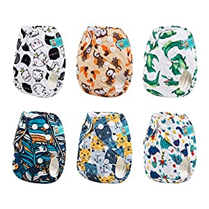 Alva Baby Pocket Newborn for Less Than 12pounds Baby Snaps Cloth Diapers Nappy 6pcs + 6 Inserts – – All in one