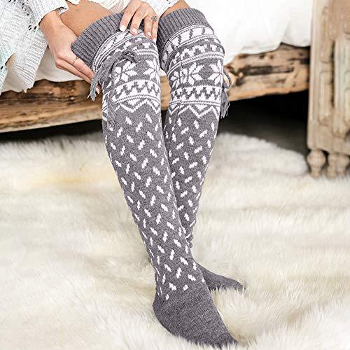 7d831df38 Quelife Women Christmas Warm Thigh High Long Stockings Knit Over Knee  Woolen Socks
