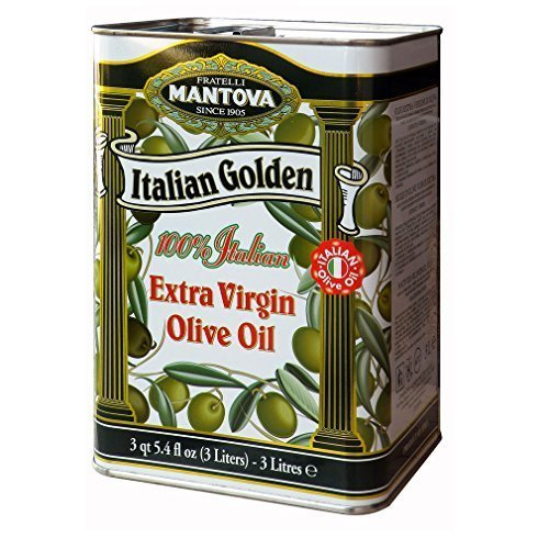 Mantova Golden Italian Extra Virgin Olive Oil, 102-Ounce Tins (Pack of 2)