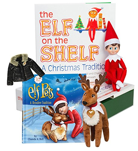 The Elf on the Shelf: A Christmas Tradition - Blue Eyed Boy Scout Elf with Elf Pets Reindeer and BONUS Puffy North Pole (Dog Elf Outfit)