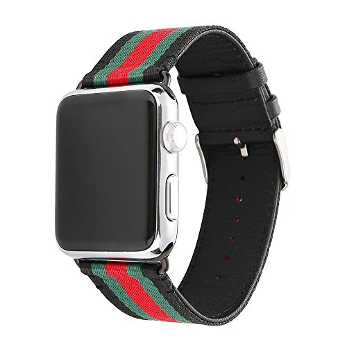 Gucci Black Stripes - U191U Sport Band Compatible with Apple Watch, Smart Watch Strap Elegant Nylon & Genuine Leather Wristband with Metal Adapter Clasp| Fancy for iWatch Strap for Men & Women (Red/Green/Black, 42MM)