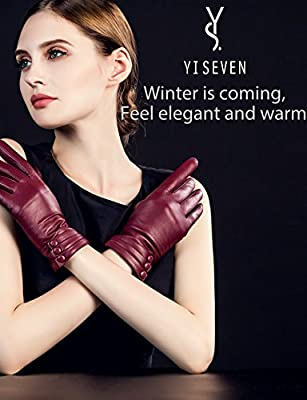 YISEVEN Women's Touchscreen Lambskin Dress Leather Gloves Buttoned Cuff
