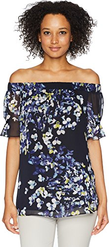 Ellen Tracy Women's Off Shoulder Blouse with Gathered Sleeves, Trellis Blossom/in, S ()