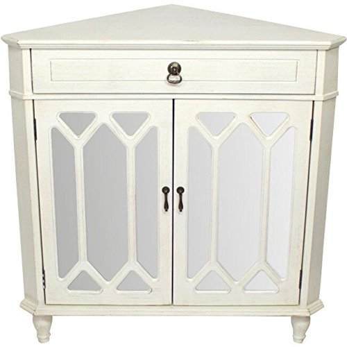 (Heather Ann Creations The Dorset Collection Contemporary Style Wooden Double Door Floor Storage Living Room Corner Cabinet with Hexagonal Mirror Inserts and 1-Drawer, Antique White)