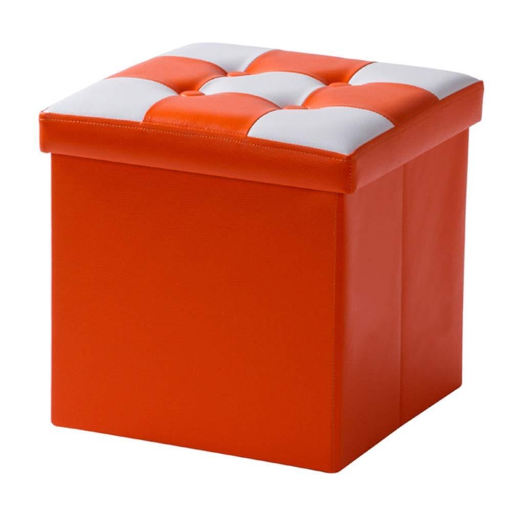 edición limitada en caliente Taburete Taburete Taburete de almacenamiento de taburetes y taburetes Bastidor de madera maciza de gran capacidad Estable Plegable PU Tela Impermeable Fácil de limpiar, 2 tamaños, 5 Colors (Color  naranja-31x31x31cm)  precios mas baratos