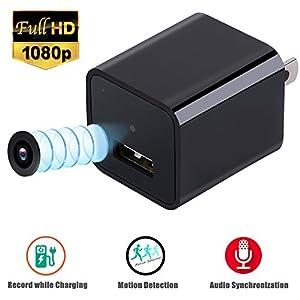 Hidden Camera,1080P HD USB Wall Adapter Charger Mini Camera/Nanny Camera(Not included SD card)