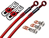 Core Moto - Honda GROM / MSX 125 2014-2015 Performance Brake lines Front and Rear Combo - Translucent Red