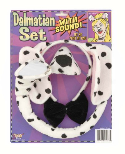 Forum Novelties Animal Costume Set Dalmatian Dog Ears Nose Tail with Sound Effects (Dress Up Dogs)