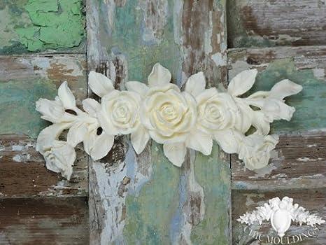 Shabby chic moulding applique large rose bouquet swag pediment