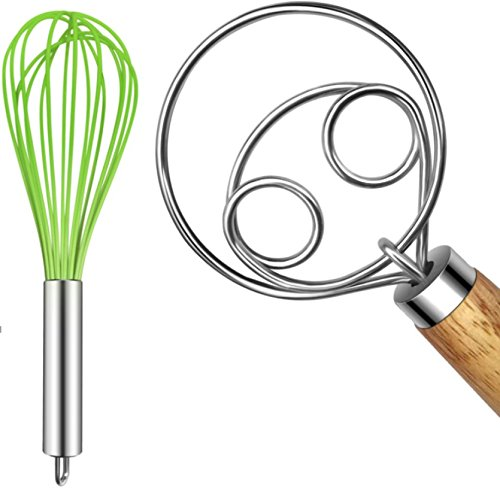 TEEVEA (Upgraded) 3 Pack Very Sturdy Kitchen Silicone Whisk Balloon Wire Whisk Set Egg Beater for Blending Whisking Beating Stirring Cooking Baking (2 Pack Dough Whisk Green) ()