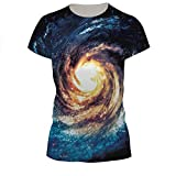 Girls' Spring Summer Crewneck Short Sleeve T-shirts Printed Eddy Galaxy One Size