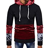 SMALLE ◕‿◕ Clearance,Mens Splicing Pocket Pullover Long Sleeve Hooded Sweatshirt Tops Blouse
