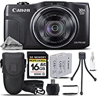 Canon PowerShot SX710 HS Digital Camera Black Built-In Wi-Fi/NFC + Backup Battery + 16GB Class 10 Memory Card + Card Reader + Tripod + Case. All Original Accessories Included - International Version