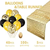 5-Pack 12x108 Inches Gold Sequin Table Runners with Confetti Balloons and Gold and Black Latex Balloons for Wedding Party Reception Occasions Home Festival Decorations by QueenDream