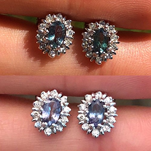 Natural Alexandrite Diamond Halo Earrings Studs 0.70 cttw Amazing color change (blue green to purple)18K White Gold Screw Back Post NEW (Roberto Fantasia Coin)