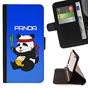 For Sony Xperia M5 Cute Panda Kung Fu Karate Meal Style PU Leather Case Wallet Flip Stand Flap Closure Cover