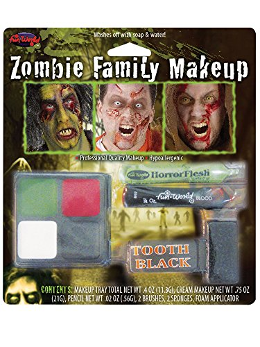 Fun World Unisex-Adult's Zombie Family Makeup Accessory Kit,