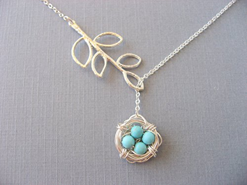 Mothers Necklace, Silver Bird Nest Necklace, Turquoise Lariat Branch Necklace