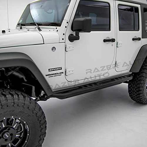 Razer Auto Rock Crawler Side Slider Rocker Guard Black Textured for 4 Door with Step Tube Running for 07-17 Jeep Wrangler (Xrc Rock Sliders)