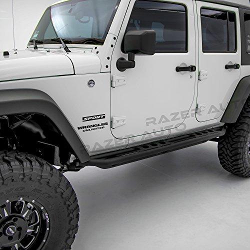 - Razer Auto Rock Crawler Side Slider Rocker Guard Black Textured for 4 Door with Step Tube Running for 07-17 Jeep Wrangler JK