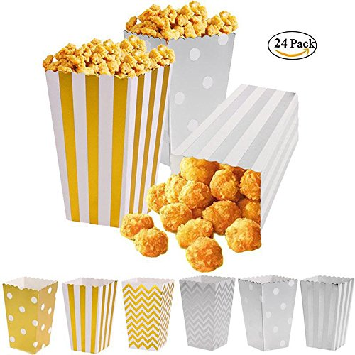 Kitchentbf 24Pcs Premium Quality Mini Gold   Silver Paper Popcorn Box  4 53 Inches Tall Popcorn Tub For Movie Night And Party