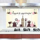 "BIBITIME ""Enjoy the life enjoy the best food"" Tableware Wine Glasses Kitchen Oil Proof Wall Stickers Backsplash Tile Decals,17.72"" x 27.56"""