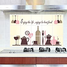 "BIBITIME ""Enjoy the life enjoy the best food"" Tableware Wine Glasses Kitchen Oil Proof Wall Stickers Backsplash Tile Decals,17.72"" x 27.56"""
