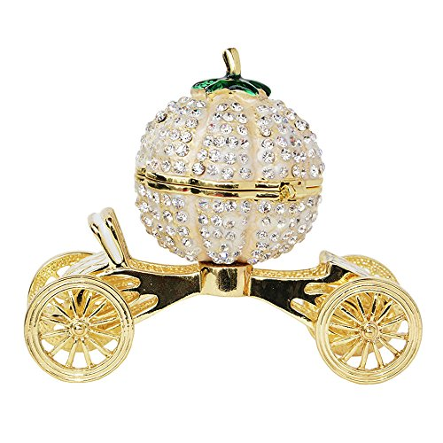 Pumpkin Carriage Trinket Jewelry Box Ring Storage Rhinestone Bling Bling Wedding Gift for Her (Pumpkin Rhinestones)