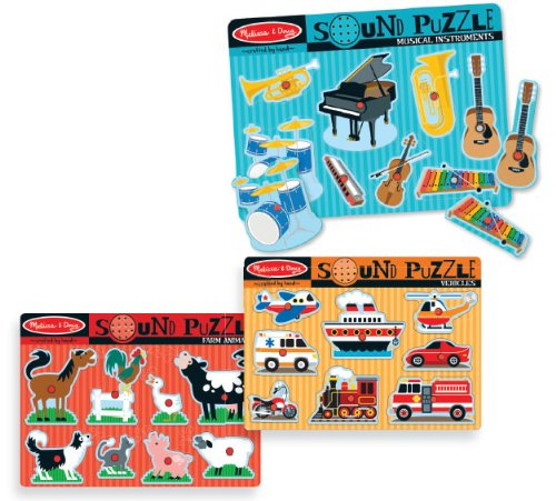 Set of 3 Sound Puzzles: Farm, Vehicle & Instruments