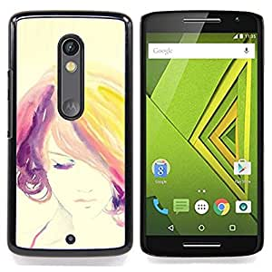 FOR Motorola Verizon DROID MAXX 2 / Moto X Play Queen Pattern - Portrait Woman Colorful Hair Purple - Doble capa de armadura de la cubierta del caso del protector -