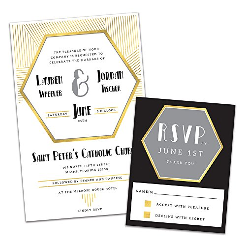 (Gold Hexagon Art Deco Personalized Wedding Invitations and RSVP Cards)