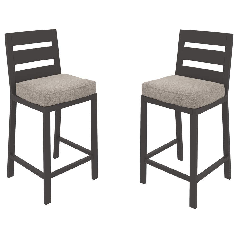 Ashley Furniture Signature Design - Perrymount Outdoor Bar Stool - Set of 2 - Gray & Dark Brown