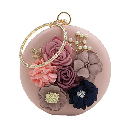 (Womens Satin Flower Stud Evening Clutch Pearl Beaded PU Leather Formal Party Prom Handbag(Pink Round))