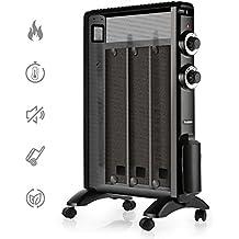 TURBRO 'Arcade' HR1015 Mica Heater, Portable Micathermic Flat-Panel /w Adjustable Thermostat, 1500W 120V - Black