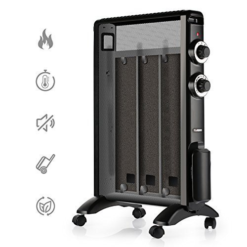 TURBRO 'Arcade' HR1015 Mica Heater, 1500W 120V Portable Silent Eco Saving Space Heater - Black Ceramic Heaters TURBRO