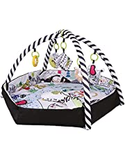 Deluxe Baby Play Mat, Large Washable Baby Gym Activity Center with 5 Hanging Toys & 30 Ocean Balls, Educational Activity Gym and Play Mat for Newborn Indoor & Outdoor