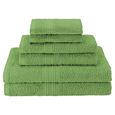 Superior Eco-Friendly 100% Ringspun Cotton, 6 Piece Towel Set in Terrace Green