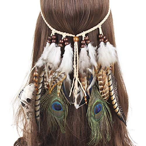 MioCloth Bohemian Peacock Feather Hairband Necklace Indian Gypsy Tribal Tassels Hairband Headdress for Women Girl ()