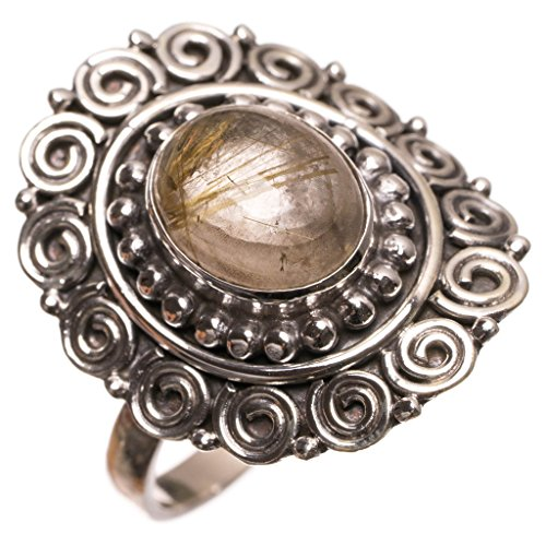 (Natural Rutilated Quartz Handmade Unique 925 Sterling Silver Ring, US Size 8.5 S2823)