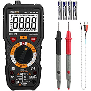 Tacklife DM01M Advanced Digital Multimeter Trms 6000 Counts Tester Non Contact Voltage Detection Amp Ohm Volt Multi Meter Temperature, Live Line, with Lcd Backlit, Black