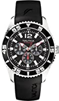 Nautica N11086G day and date black dial resin band men watch  by Nautica