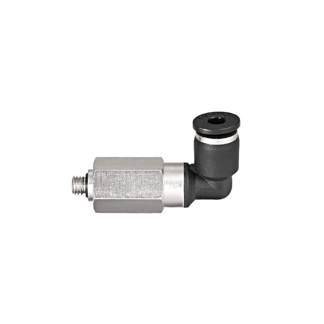 uxcell 4mm Tube to M5 Push Lock Elbows L Shape Air Fittings 3pcs