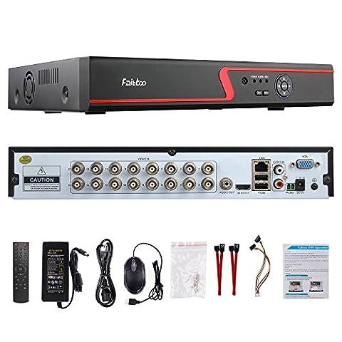 Faittoo H.264 16CH 1080N AHD DVR Hybrid AHD+HVR+TVI+CVI+NVR 5-in-1 Security System Realtime Standalone CCTV Surveillance Onvif P2P Quick QR Code Scan w/ Easy Remote View HDMI/VGA Output (NO - Everfocus Alarm